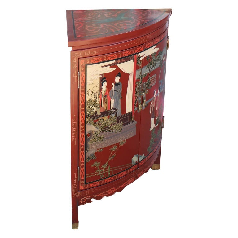 Red lacquer chinoiserie corner chinese cabinet with for Chinese furniture houston tx
