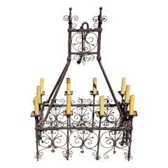 Wonderful 18th Century Spanish or French Hand Wrought Iron Chandelier