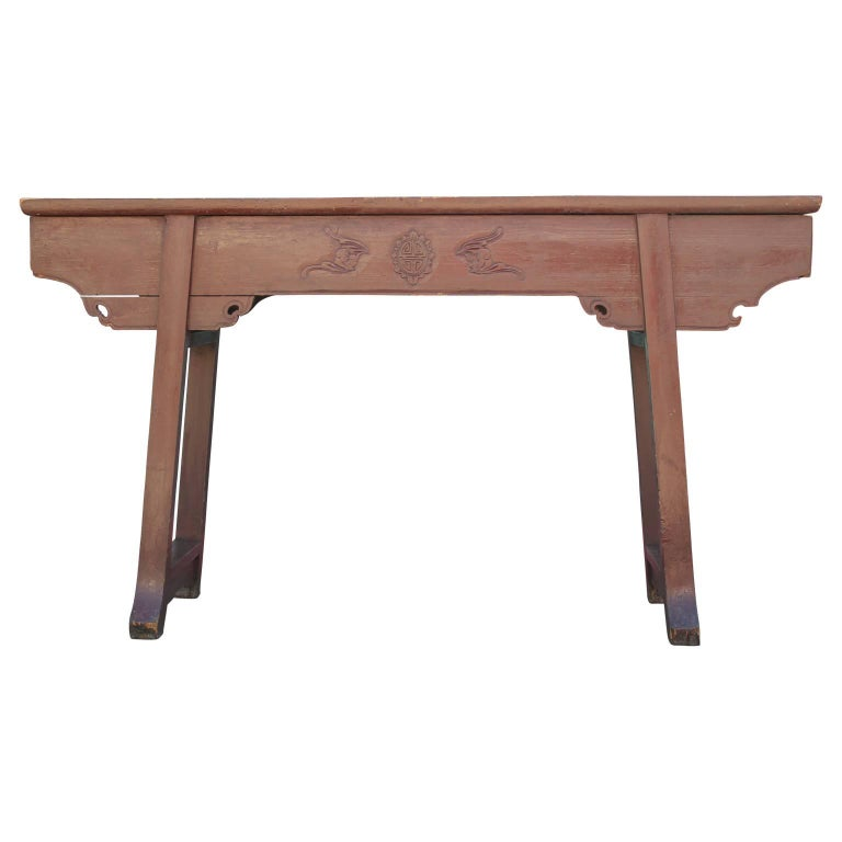 19th Century Red Chinese Altar Table Rustic or Entryway Pagoda Table