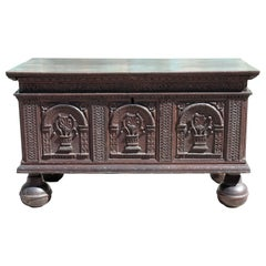 Early 17th Century Colonial Oak Chest with Bun Feet and Latin Carvings
