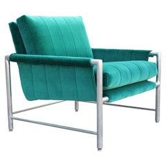Modern Milo Baughman Style Aluminum Turquoise Teal Velvet Lounge Chair