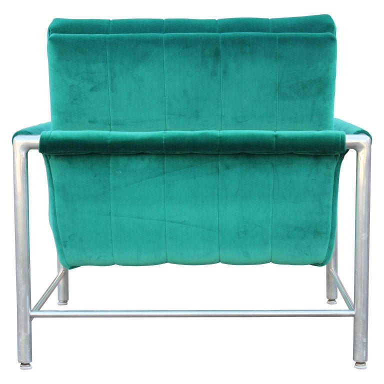 Modern milo baughman style aluminum turquoise teal velvet for Teal chairs for sale