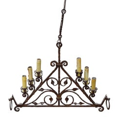 19th Century Wrought Iron Horse Hanging Chandelier or Candelabra