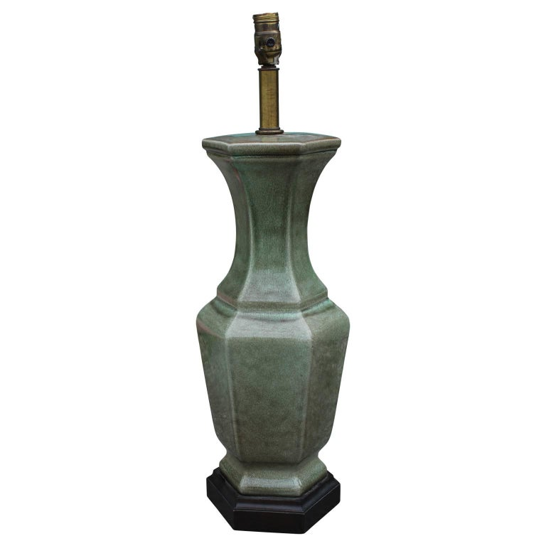 Pair of Frederick Cooper green glazed ceramic vase table lamps. Originally made in Chicago, IL.
