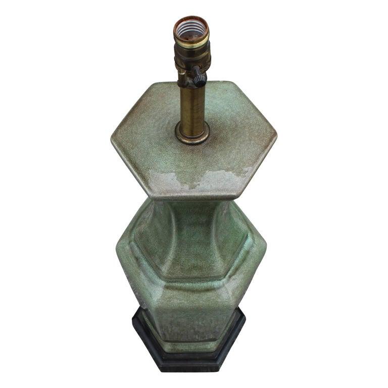 Modern Pair of Frederick Cooper Green Glazed Ceramic Vase Table Lamps For Sale