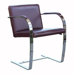 Set of 36 Modern Flat Bar Chrome and Leather Mies van der Rohe Brno Chairs