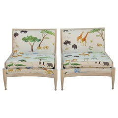 Pair of Modern Bleached Wood Cane Lounge Chairs in Colorful Jungle Animal Print