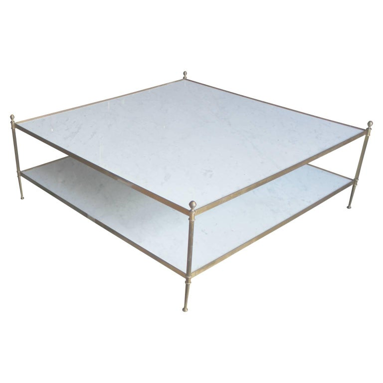 Marble Coffee Table Houston: Hollywood Regency Italian Marble And Brass Two-Tiered