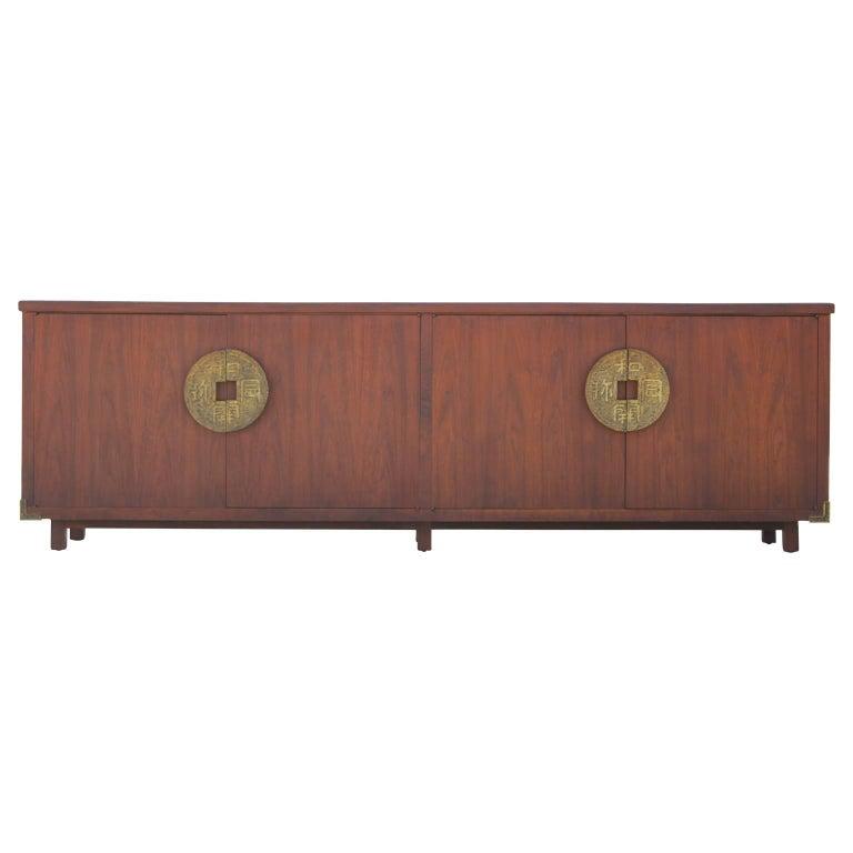 Monumental Modern Walnut Sideboard / Buffet With Chinese Brass Hardware