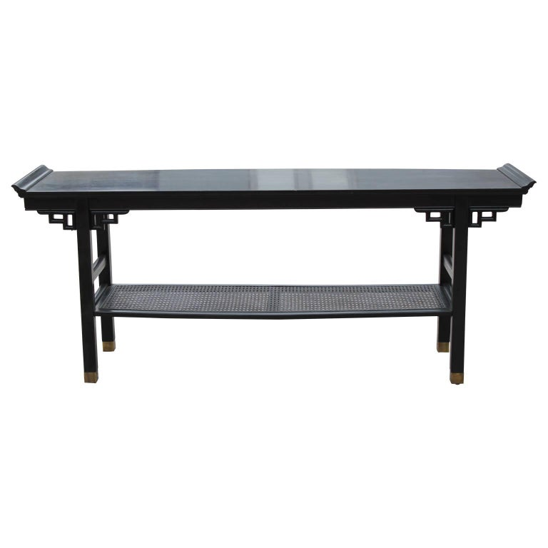 Modern Two Tiered Pagoda Style Black Console Table With