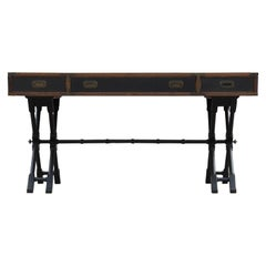 Modern Campaign Style Faux Bamboo Desk with Leather Inserts & Brass by Brandt