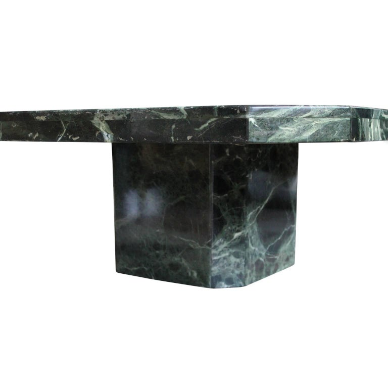 Late 20th Century Modern Square Italian Green Marble Pedestal Coffee Table For Sale
