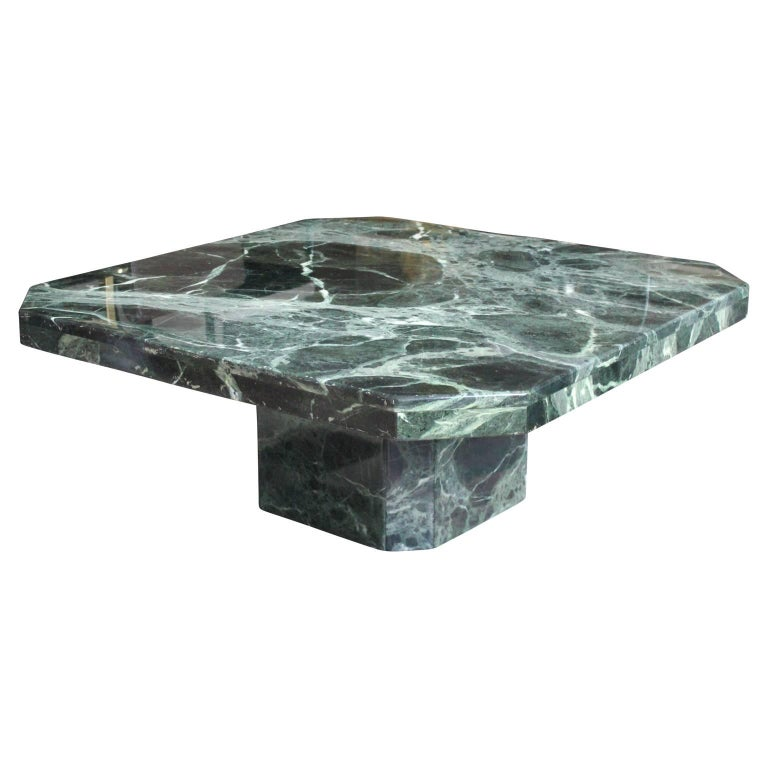 Modern Square Italian Green Marble Pedestal Coffee Table For Sale