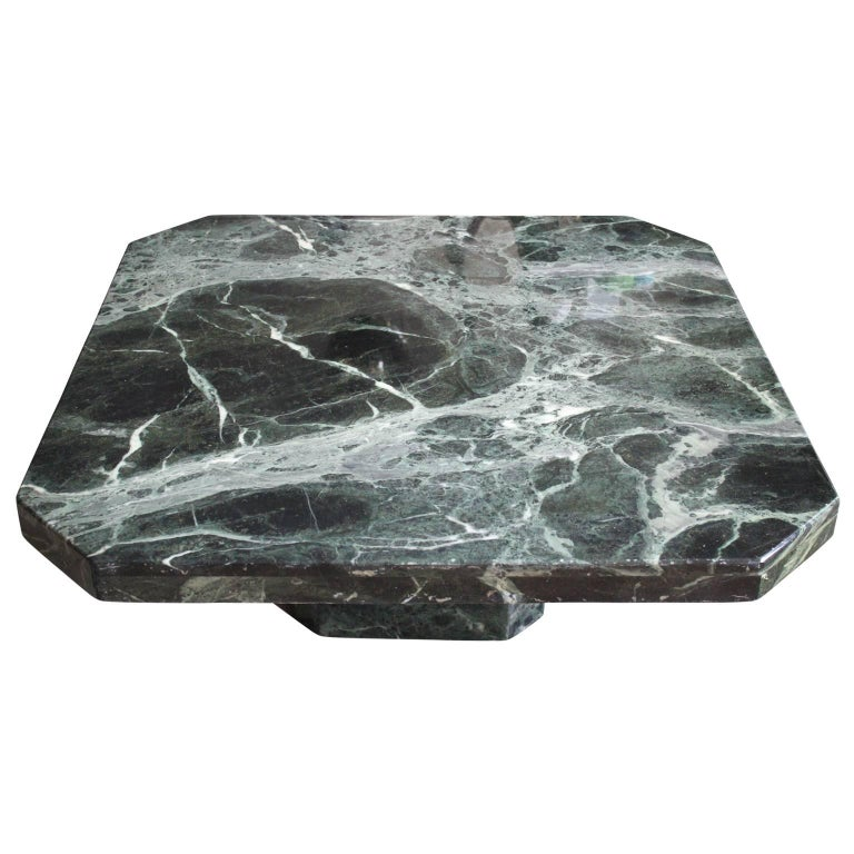 Modern Square Italian Green Marble Pedestal Coffee Table For Sale 1