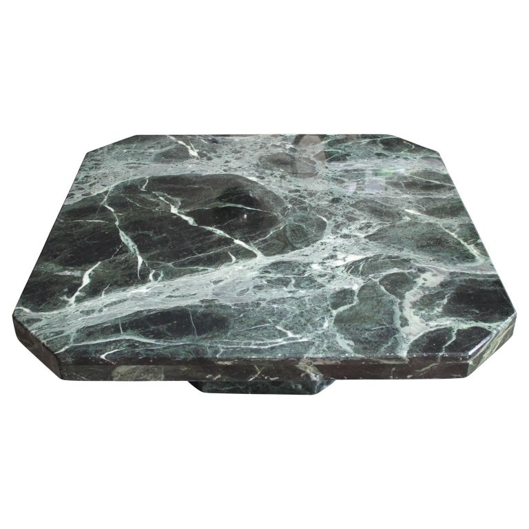 Modern Square Italian Green Marble Pedestal Coffee Table In Excellent Condition For Sale In Houston, TX