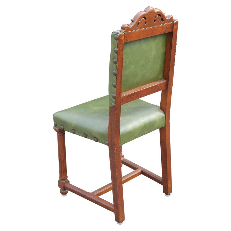 Neo Renaissance Traditional Formal Dining Upholstered Side: Pair Of French Renaissance Carved Oak Green Side Chairs