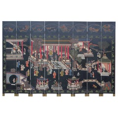 Chinese Eight-Panel Coromandel Screen, Hand Carved and Painted Hanzi Characters