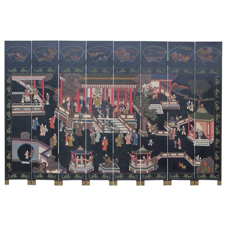 Chinese Eight-Panel Coromandel Scree, Hand Carved and Painted Hanzi Characters
