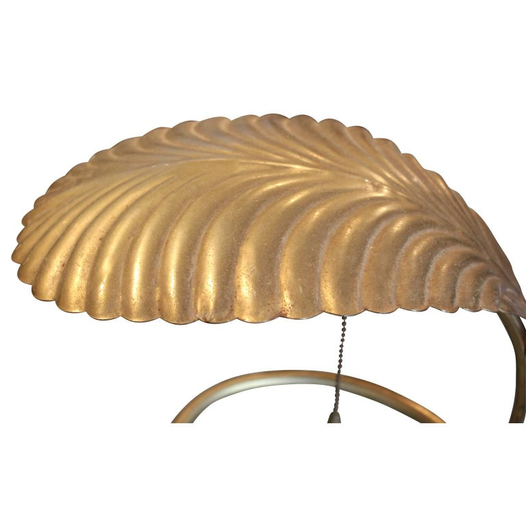 Pair of Tommaso Barbi Style Brass Coated Leaf Table Lamps For Sale 5