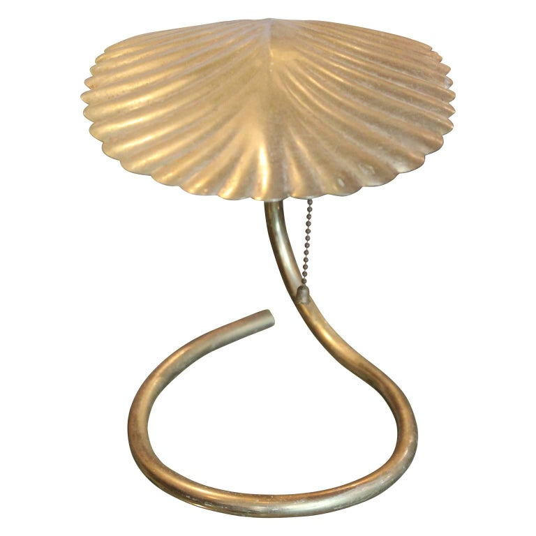 Mid-20th Century Pair of Tommaso Barbi Style Brass Coated Leaf Table Lamps For Sale