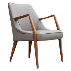 Modern Bertha Schaefer & Gio Ponti for Singer and Sons Walnut and Leather Chair