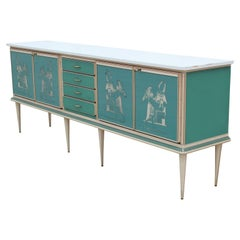 Modern Turquoise and White Credenza with Egyptian Motifs and Brass Hardware