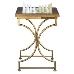 Modern Square Onyx Chess Table with Brass Base and Onyx Chess Set