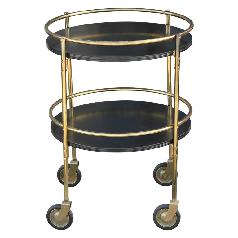 Modern Round Two Tiered Black and Brass Bar Cart or Tea Cart