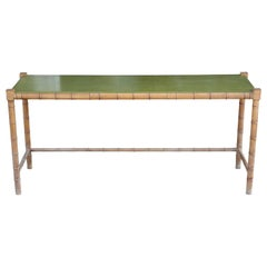Modern Faux Bamboo and Green Top Rectangular Console or Serving Table