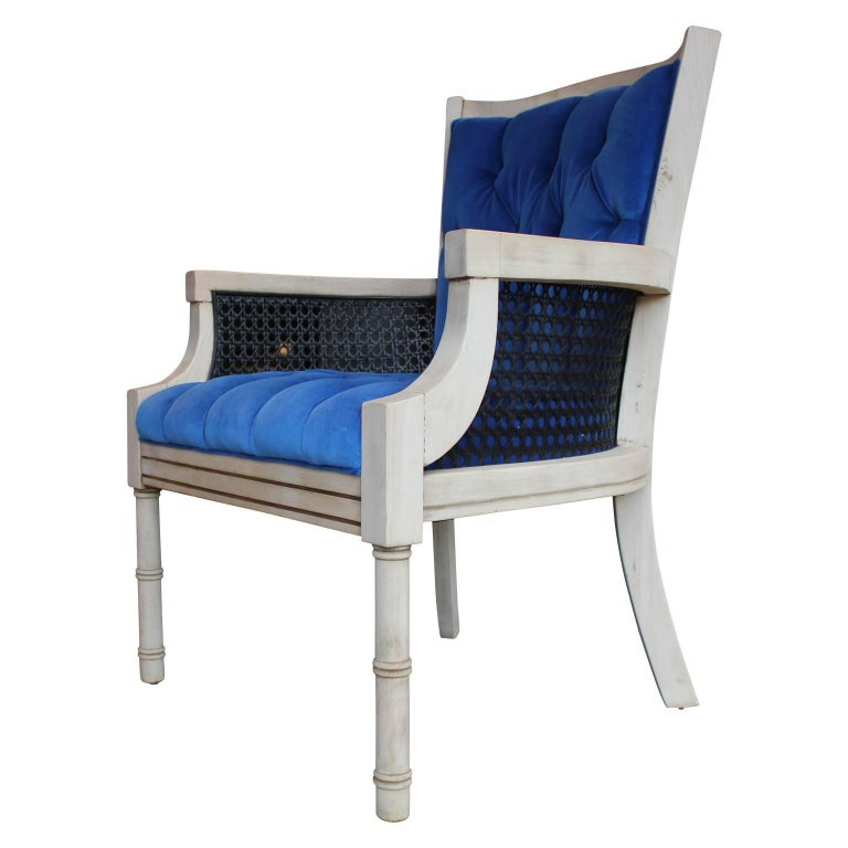 Modern French Tufted Blue Velvet Bleached Lounge Chair with Cane Sides In Excellent Condition For Sale In Houston, TX
