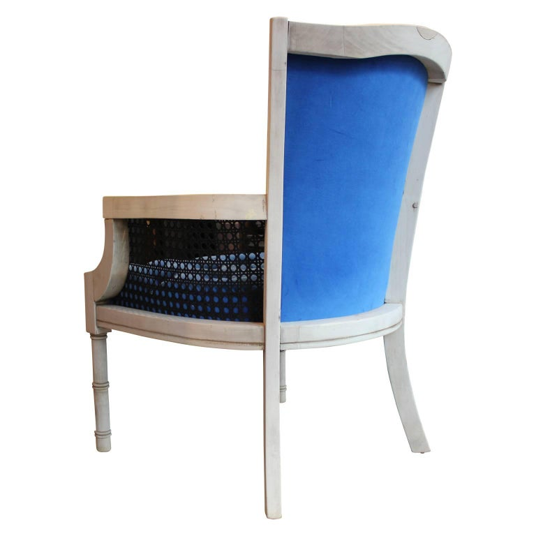 Modern French Tufted Blue Velvet Bleached Lounge Chair with Cane Sides For Sale 2