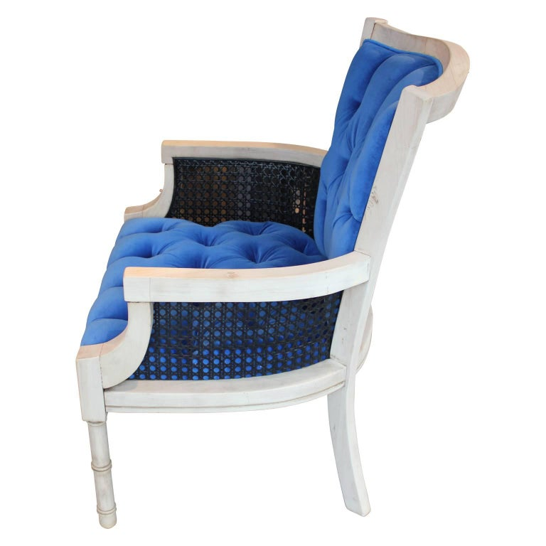 Mid-20th Century Modern French Tufted Blue Velvet Bleached Lounge Chair with Cane Sides For Sale