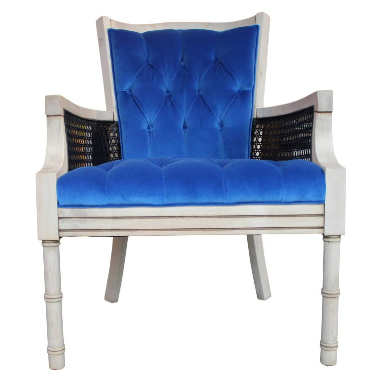 Mid-Century Modern Modern French Tufted Blue Velvet Bleached Lounge Chair with Cane Sides For Sale
