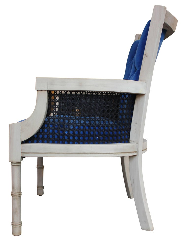 Modern French Tufted Blue Velvet Bleached Lounge Chair with Cane Sides For Sale 1