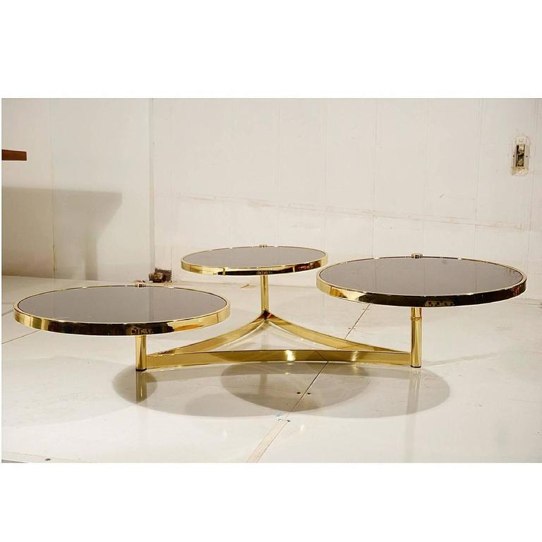 Stunning Milo Baughman Brass And Black Glass Swivel Table For Sale At 1stdibs