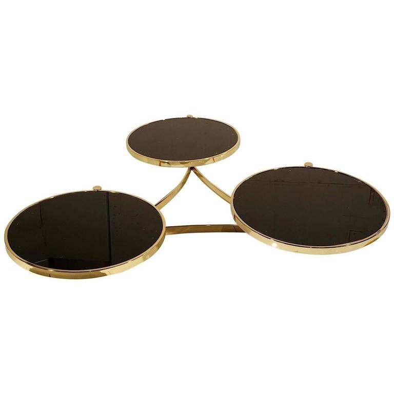 Tree Trunk Coffee Table Melbourne: Stunning Milo Baughman Brass And Black Glass Swivel Table