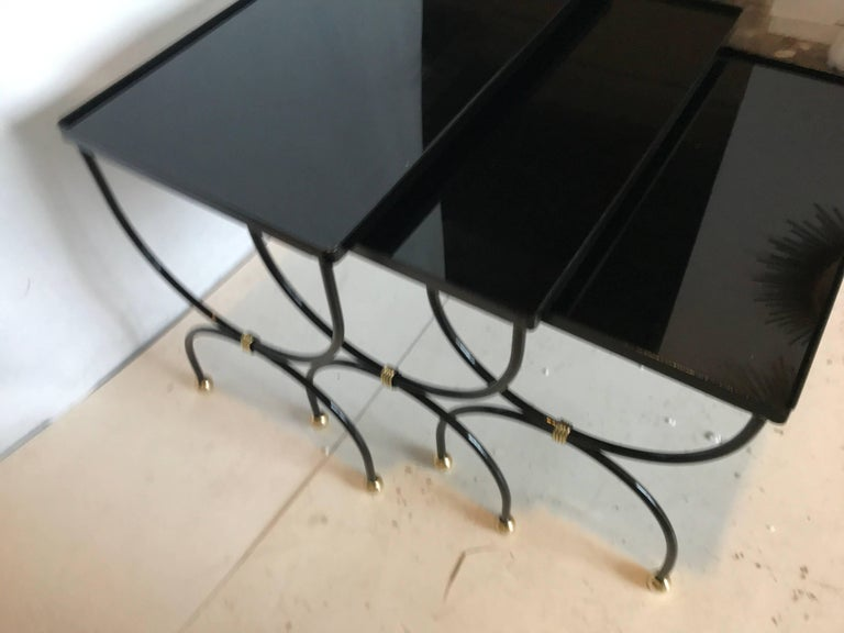 Mid-Century Modern Set of Three Nesting Tables Attributed to Jean Royère For Sale
