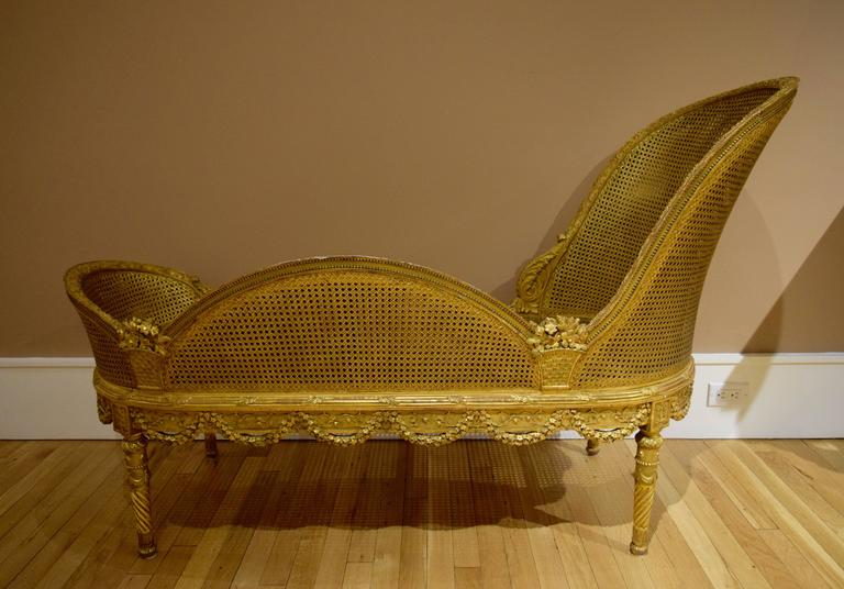 Belle Epoque Giltwood Chaise Longue For Sale at 1stdibs