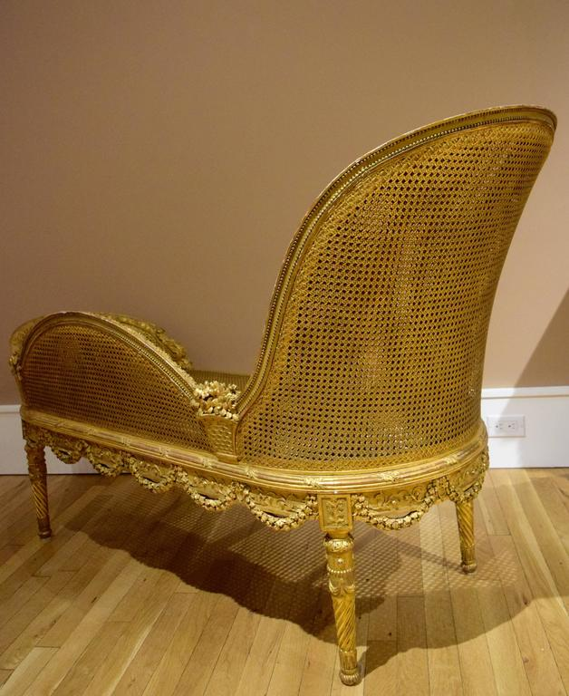 Early 20th Century Belle Epoque Giltwood Chaise Longue Circa 1900 For Sale