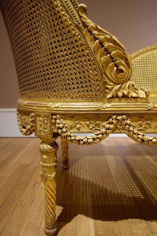 Belle Epoque Giltwood Chaise Longue Circa 1900 For Sale 2