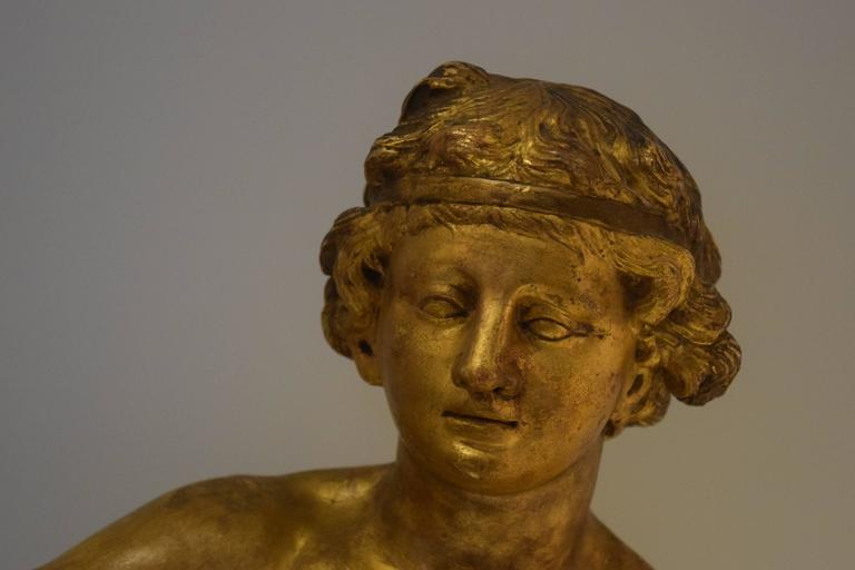 French 18th Century Giltwood Sculpture of a Female Nude For Sale