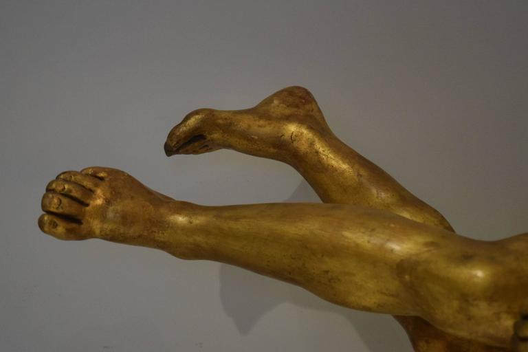 Bronze 18th Century Giltwood Sculpture of a Female Nude For Sale