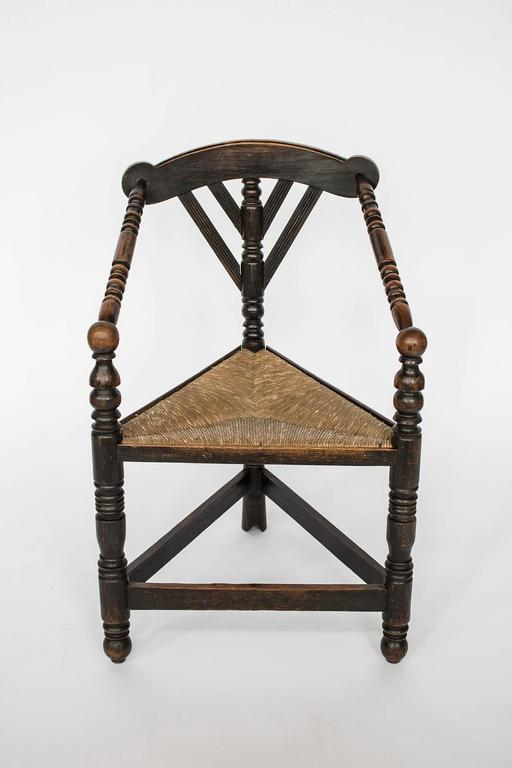 Arts And Craft Oak Turner Chair Rush Corner Seat 19th