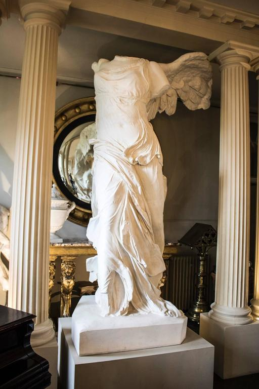 French Rare 20th Century Monumental Plaster Nike Statue, Winged Victory of Samothrace For Sale
