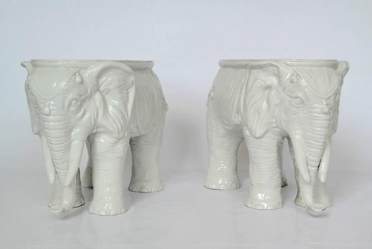 Pair of Vintage Ceramic Indian Elephant Stools / Garden Stoneware Seats 3