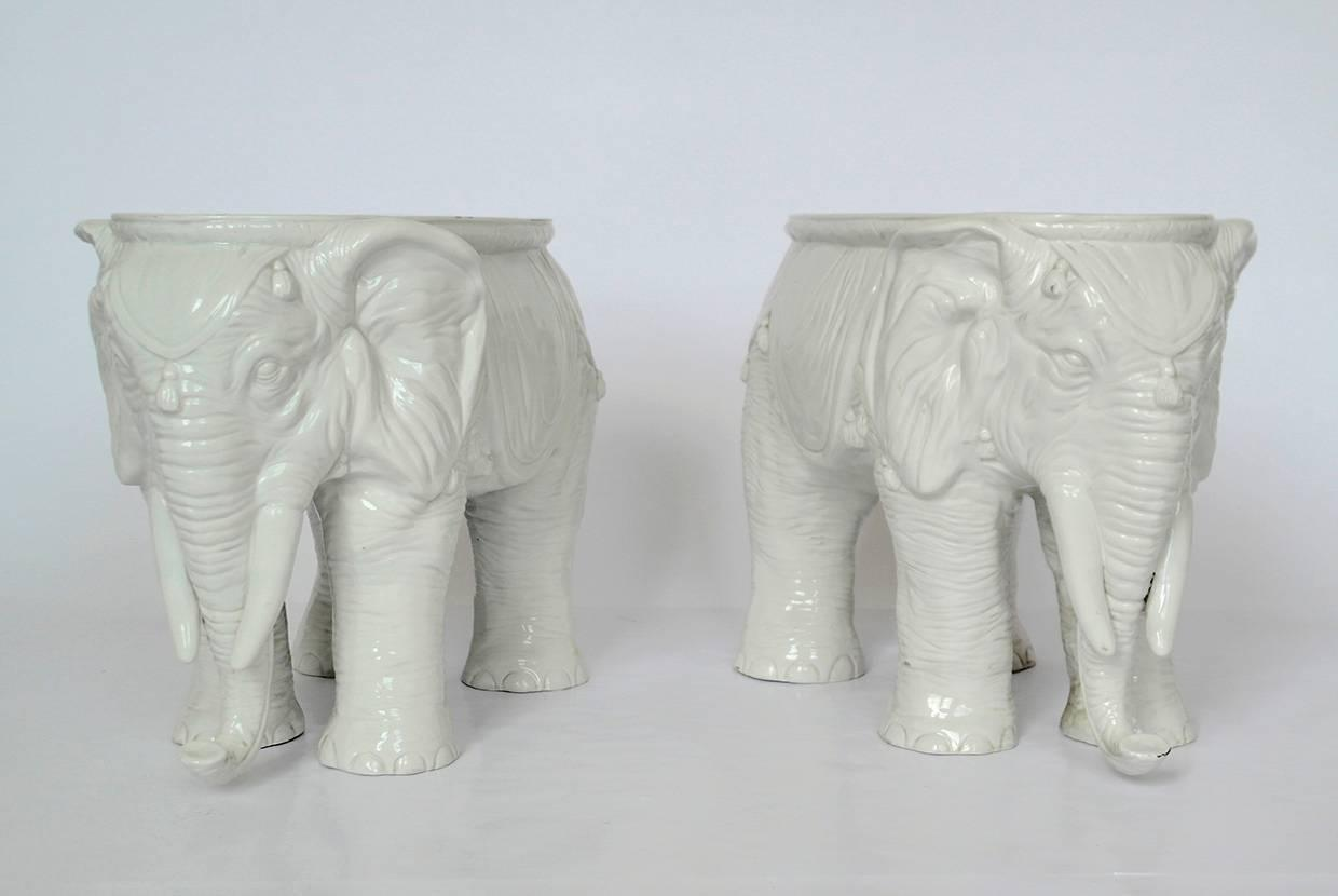 Pair Of Vintage Ceramic Indian Elephant Stools Garden