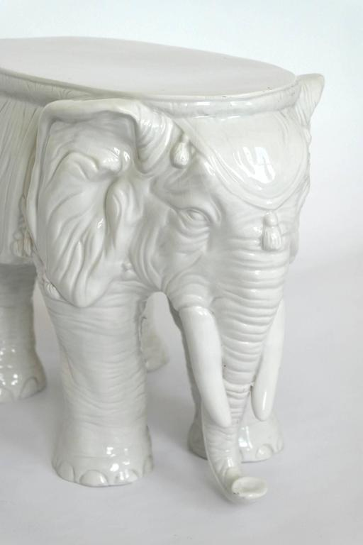 Pair of Vintage Ceramic Indian Elephant Stools / Garden Stoneware Seats 5