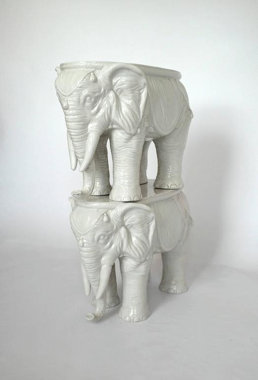 Pair of Vintage Ceramic Indian Elephant Stools / Garden Stoneware Seats 9