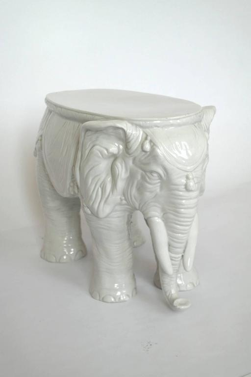 Pair of Vintage Ceramic Indian Elephant Stools / Garden Stoneware Seats 4