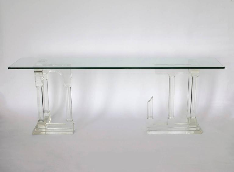 Merveilleux Mid Century Modern Architectural Pillar Console Table In Perspex Lucite  Columns, Mid Century